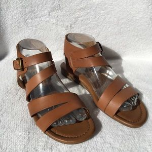 Franco Sarto Tan Ankle Strap Sandals